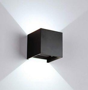 LED Modern Wandleuchten 12W/außen Wandlampe Wasserdicht mit einstellbar Abstrahlwinkel,Aluminiumgehäuse 4000K Neutrales Weiß Licht für Innen/Außen (Schwarz+4000K)