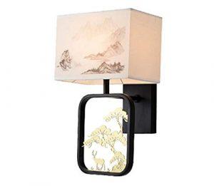 GMUSHENEinfache kreative chinesische Wandlampe Schmiedeeisen Schlafzimmer Nachttischlampe führte indoor Druck Stoff Lampe Hotelzimmer Lampe