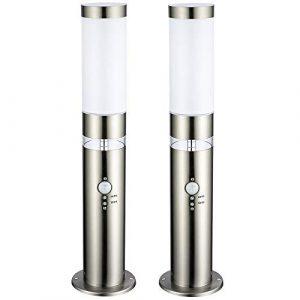 Edelstahl LED-Außenleuchte 2x Sockelleuchte Lisa Hauptlicht mit Bewegungsmelder und LED Ring als Grundlicht, Außenlampe 50cm Tag/Nachtsensor Dämmerungssensor Stehleuchte