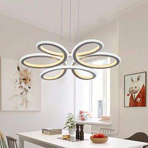 ASDF LED Pendelleuchte esstisch 48W Hängelampe Wohnzimmer Küche LED-Pendellampe Moderne Acryl Hängeleuchte Höhenverstellbar Leuchte für Büro Esszimmer Kurve Design, Warmes Licht 3000K
