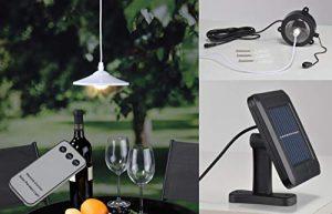 Kamaca LED Solar Hängelampe mit Fernbedienung Hängende Lampe Solar Pendellampe mit Solarpanel und Dämmerungssensor (LED Solar Hängeleuchte mit Fernbedienung)