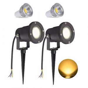 2 Stück 3W Warmweiß LED Gartenleuchte mit Erdspieß, Rasen Licht, Matt-Schwarz, wasserdicht IP65 – für den Außenbereich Garten Teich Landschaft mit ohne Stecker (2 * 3W Warmweiß)