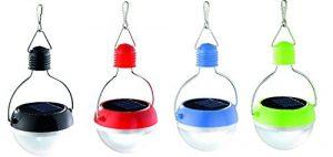 4er Set LED Solarlampe Solar Anhänger Hängelampe Hängeleuchte rot / blau / grün / schwarz Ø 7,3 cm 4×0,06W kaltweiss LED