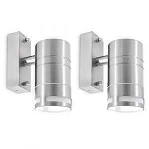 2 Stück LED Wandleuchte Außen Edelstahl – mit LED GU10 5W neutralweiß – Wandlampe 230V Wandstrahler IP44 für Garten & Hauswand