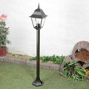 Außen Stehlampe Gold Antik wetterfest E27 H:104cm Glas Rustikal Wegbeleuchtung Garten Einfahrt Hof
