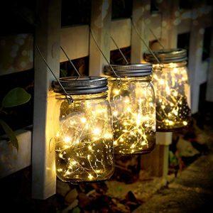Solarleuchte – SUNNOW 3 Stück Mason Jar Licht 30 LED Wasserdicht Solarlicht Garten Hängeleuchten LED Solarlicht Glasgläser solarlampen außen für Außen Garten Deko,Weihnachtsferien Deko (Warmweiß)