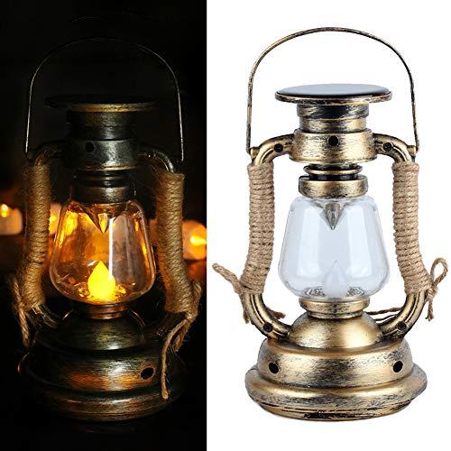 Solar-Hängelampe, Retro-Antik-LED-Öl-Lampe, Hurricane Bergmann Laterne für Garten Baum Tisch Lesen Camping