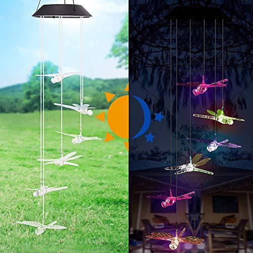 Danolt Solar Windspiel LED Libelle Farbwechsel Hängeleuchte für Garten Dekoration.