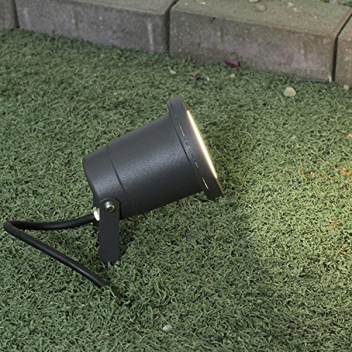 Moderne Standleuchte anthrazit 1x 3,2W GU10 LED 230V Stehleuchte robustem Aluguss dickem Klarglase satz aufstellbare Stehlampe für Garten Terrasse Garten Terrasse Lampen Leuchte außen