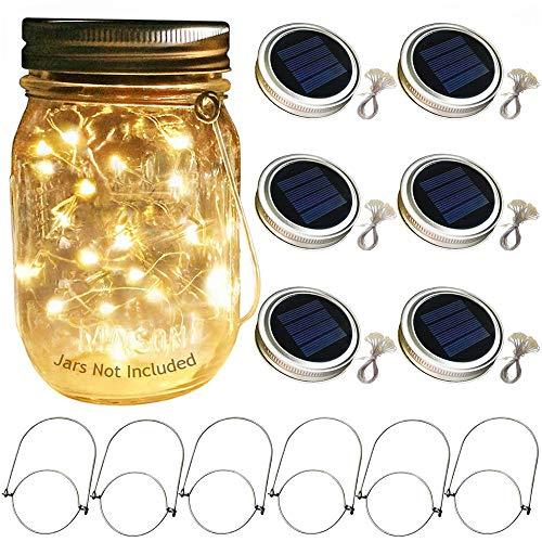 Solar Mason Jar Licht 6 Pack 20 LED Wasserdicht Solar Glas Einmachglas Warmweiß Garten Hängeleuchten Für Party, Weihnachten, Hochzeit(Ohne Flaschen)