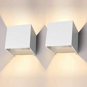 LED Wandleuchte 12W 2er Pack Modern High Bright Warmweiß Wandlampe Mit Einstellbar Abstrahlwinkel LED Wandbeleuchtung IP65 Innen/Außen(Weiß)