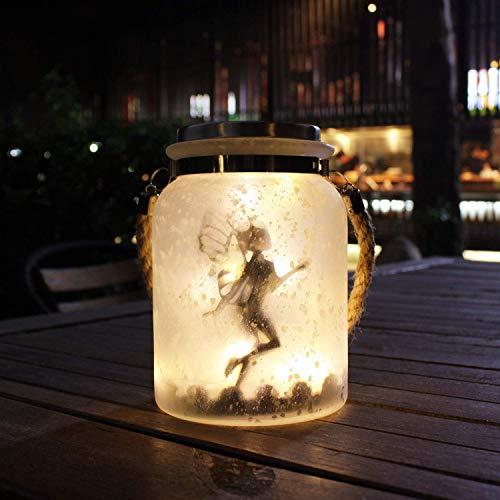 Solar Laterne Lichterketten Solar Dekorative Tischlampe Garten Geschenke Solar Hängende Dekoration Laterne Wasserdicht Weiß Milchglas Hängende Glas 20 Warmweiße Mini LED Lichterketten (Weiß)