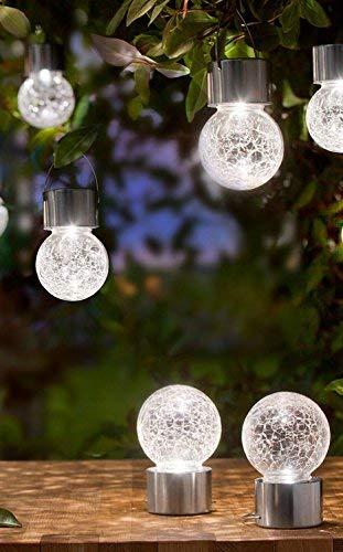 3 x LED Solar Hängelampe Solarleuchte Solarkugel Gartenlampe Balkonlampe