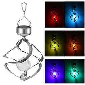 Spiral Spinner Solar Wind Chime LED Lamp Farbwechsel Kristallkugel Lichter Outdoor Landschaft Hängeleuchte for Garden Yard Lawn Balcony Porch